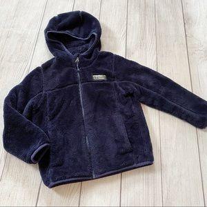 LL Bean navy fleece hooded jacket